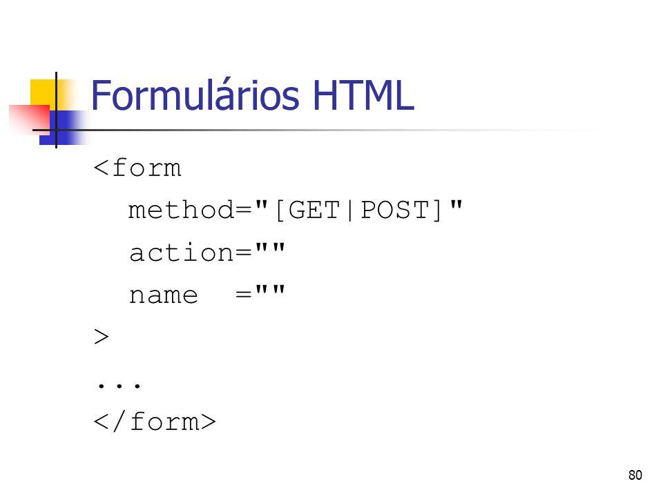 Formulários HTML <form method= [GET|POST] action= name = >